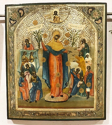 """19 c. ANTIQUE RUSSIAN HAND PAINTED ICON  """"VIRGIN - Joy of All Who Sorrow"""""""