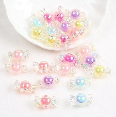 50pcs Acrylic Rainbow Color Candy Beads For Jewelry Making DIY Necklace Crafts