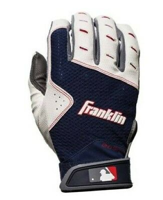 Franklin Sports 2nd Skinz XT Batting Gloves - Gray/Navy - Adult Large