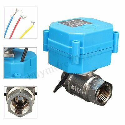 Stainless Steel 1/2'' 2-Way 3-Wire NPT Electric Motorized Ball Valve DC12V DN15
