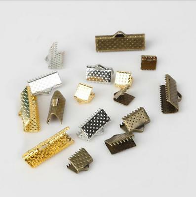 Metal Ribbon Clip  End Connector DIY Necklace Jewelry Making Accessories Clip