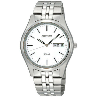 Seiko Mens Solar Powered Stainless Steel Watch with White Dial & Silver Bracelet