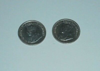 1913 & 1919 CANADA FIVE 5 CENT Nickel Half Dime CANADIAN Silver Coin