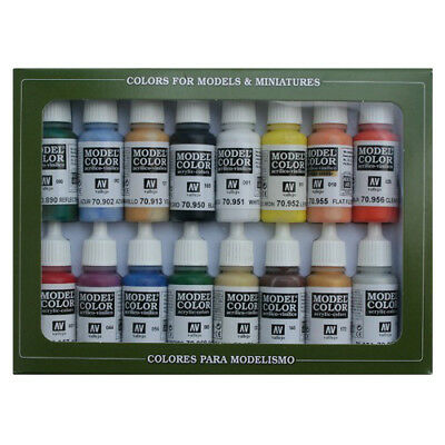 Vallejo Model Color Basic Colors USA 16 Bottle Paint Set VAL70140
