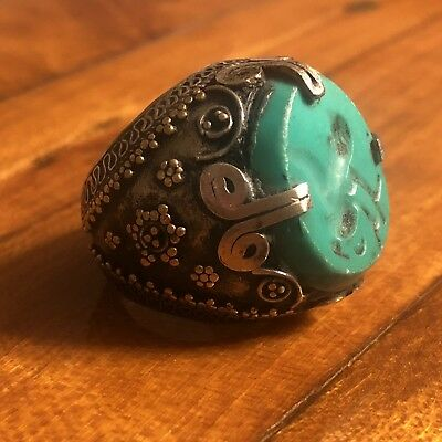 Medieval Style Islamic Ring Turquoise Intaglio Signet Big Seal Stone Silver Tone
