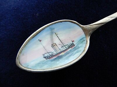 """Silver & hand enamel Norwegian """"Ship"""" Picture bowl spoon, from an old estate"""