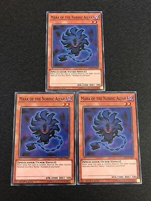 Yu-Gi-Oh 3x Mara Of The Nordic Alfar 1st Edition LEHD-ENB08 (Mint)