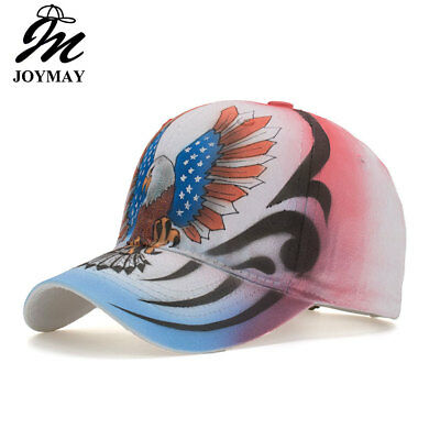AKIZON 2018 New Spring White star USA flag Painting Jean  Denim Baseball Cap