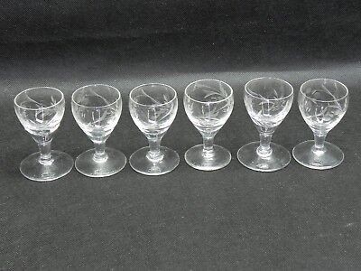 Antique France Hand Cut Crystal Etched Shot Glasses Lot of 6 Rare