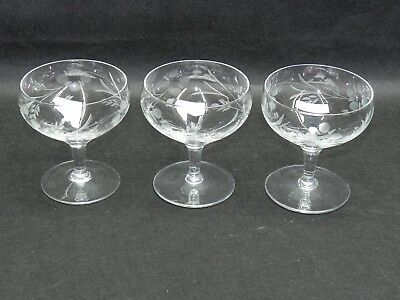 """Antique France Hand Cut Crystal Etched Cognac Glasses 4"""" Lot of 3"""