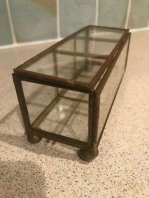 Small Glass & Brass Display Cabinet 1970s Vintage Retro