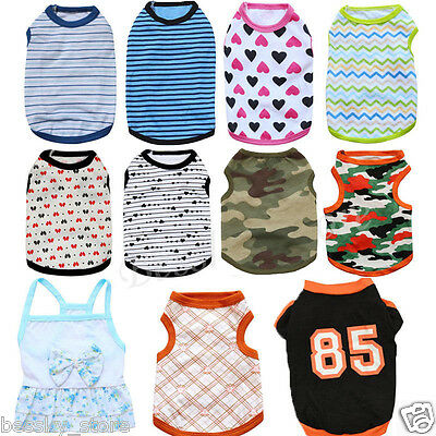 Various Pet Puppy Small Dog Cat Clothes Vest T Shirt Dress Apparel Shirt L