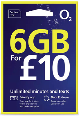 O2 02 Pay As You Go CLASSIC Triple Cut Sim Card With £10 Credit Preloaded