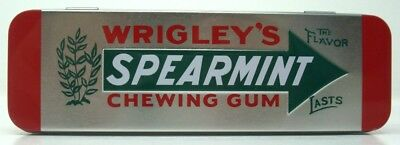 Wrigley's Spearmint Hinged Tin Chewing Gum Metal Storage Box With Gum