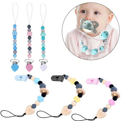 Baby Dummy Clip Holder Pacifier Clips Soother Chains Silicone Bead Teething New