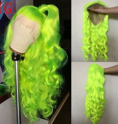 "AU 24"" Lace Front Wig Party Wavy Long Heat Safe Fiber Hair Light Yellow"