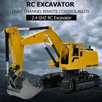 8CH Simulation RC Excavator Toys with Music Lght Children RC Truck Models Toys