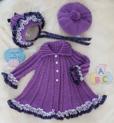 Baby girl swing coat knitting pattern  0-6mths & 12mths 'Amelia' *free postage*