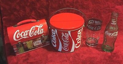 Coca Cola  Lunch Box, Can With Handle, Bottle And Drinking Glass, Lot Of 4