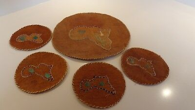 Natural Grass Coasters With The Map Of African On Them
