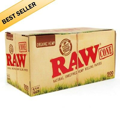 RAW Organic pre-rolled cone 1 1/4 Size with 900 cones 100% AUTHENTIC Fast Ship