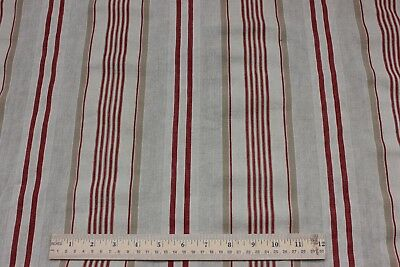 Lovely Antique French Linen Ticking Fabric Panel Yardage c1890~Red & Tan