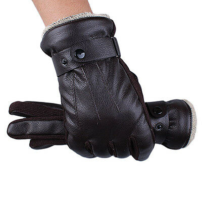 Luxury Mens Gloves Winter Super Driving Warm Full Finger PU Leather Gloves New L