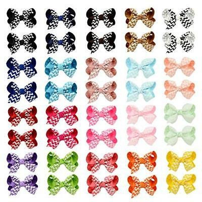 20 PC 3'' Stripes  Bows Tie Girls Large Hair Bows Elastic Bands Alligator Clips
