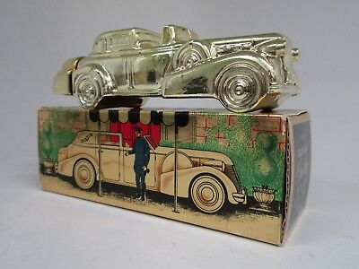 Avon Solid Gold Cadillac Excalibur After Shave Bottle Car Vintage Full W/ Box
