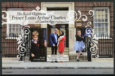 Cook Islands 2018 MNH Prince Louis Royal Baby William Kate 3v M/S Royalty Stamps
