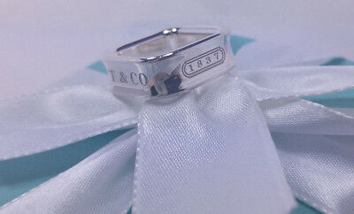 Tiffany & Co Square Cushion Band 1837 T&Co Ring Size 4.5 Sterling Silver 925 NEW