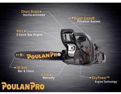 Poulan Pro PR4218 42-cc 2-cycle 18-in Gas Chainsaw with Case NEW IN BOX!