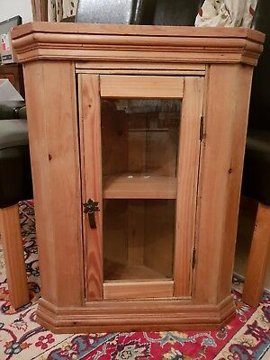 Antique Victorian stripped Pine Corner Wall Cupboard