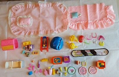 Barbie-sized accessories for dream bed, pet, crown, suglasses, dishes, kitchen