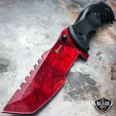 "9"" CSGO Tactical RED RUBY Tracker Huntsman Spring Assisted Folding Pocket Knife"