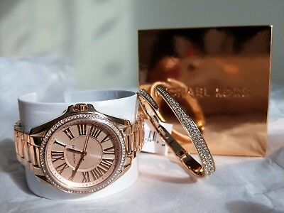 b38b0fdfae85 Michael Kors Kacie Rose Gold-Tone Watch and Bracelet Gift Box Set MK3569