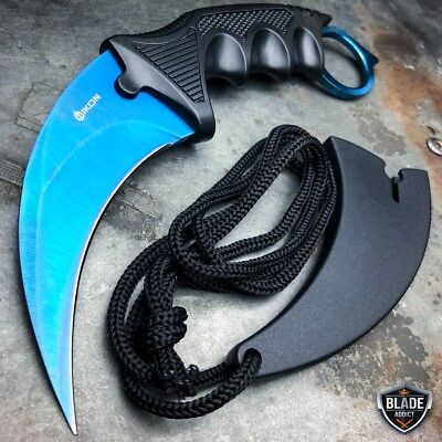 CSGO Tactical Karambit Neck Knife Survival Hunting Fixed Blade BLUE + Sheath