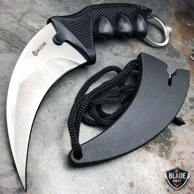 CSGO Tactical Karambit Neck Knife Survival Hunting Fixed Blade Silver + Sheath