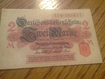 1914 Empire of Germany 2 Mark Banknote from my Collection of World Banknotes.