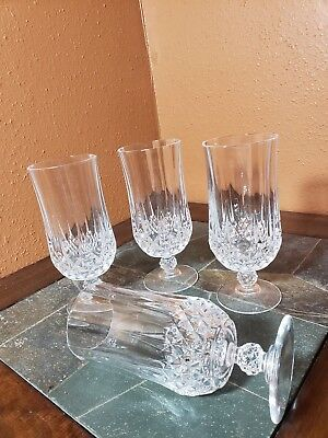 "4 Cristal D'Arques ""Longchamp"" Iced Tea Goblets Glasses 7"""