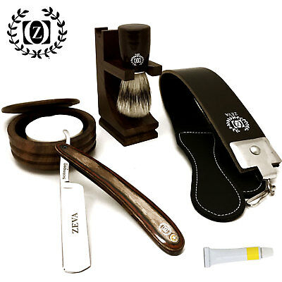 ZEVA 7 PC Wooden Shave Ready Straight Edge Razor Shaving Set for Men Dovo paste