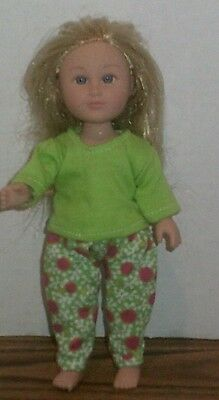 Doll Clothes-fits Mini American Girl Boy My Life-Top & Pants-Lime Pink  Dot