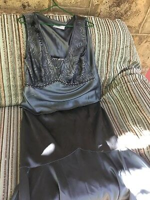 Anthea Crawford evening top (16)and skirt (14)set. Satin fabric.Top quality.