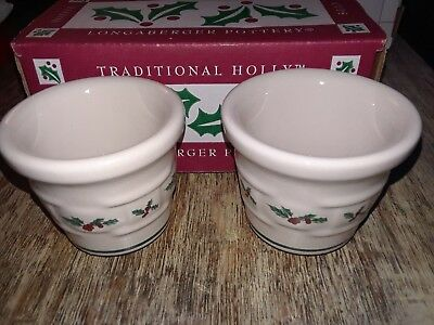 Longaberger Pottery Traditional Holly Votives in Original Box