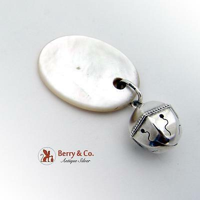 Baby Rattle Teething Ring Sterling Silver Mother Of Pearl Gorham 1895