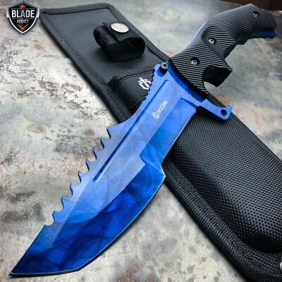 "11"" CSGO Tactical Hunting Tracker FIXED Blade Survival Bowie Knife Blue Sapphire"