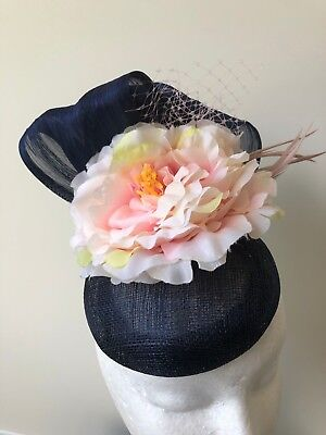 NEW! Navy blue fascinator with navy loops, pink flower, netting and feathers!