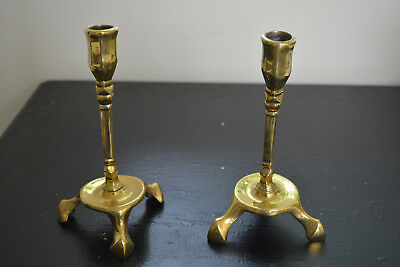 Pair of Antique 17th Century 3 Legged Bronze Table Top Candlestick