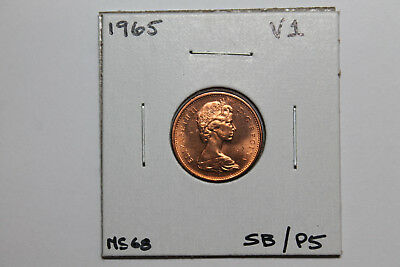 1965 BU Canadian 1 cent/ Variety 1/ small beads-pointed 5