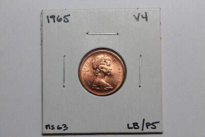 1965 BU Canadian 1 cent/ Variety 4/ large beads-pointed 5